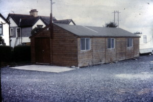 The wooden hall and the caravan at the back where the tea was made for the Friday Special meetings